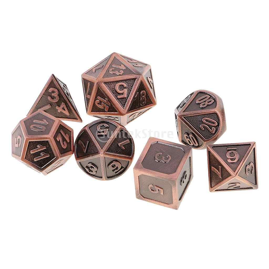7 個の金属 & ドラゴンズため多面体サイコロサイコロテーブルゲーム RPG MTG + サイコロカップ #4