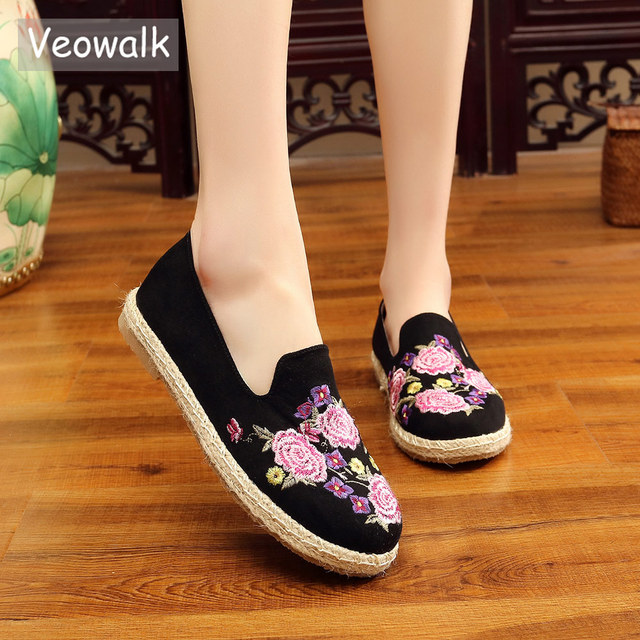 Veowalk Handmade Floral Embroidered Women Canvas espadrilles Flat Shoes  Leisure Ladies Comfort Slip on Loafers Zapatos 5e02569924bf