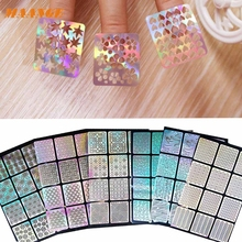 Dropshipping 6 Sheets New Nail Hollow Irregular Grid Stencil Reusable Manicure Stickers Stamping Template Nail Art Tools Mar10
