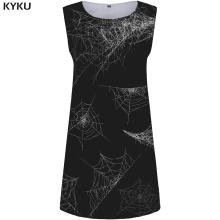 KYKU Spider Web Dress Women Black Party Sundress Tassel Beach 3d Print Gothic Sexy Womens Clothing Summer Ladies Dresses