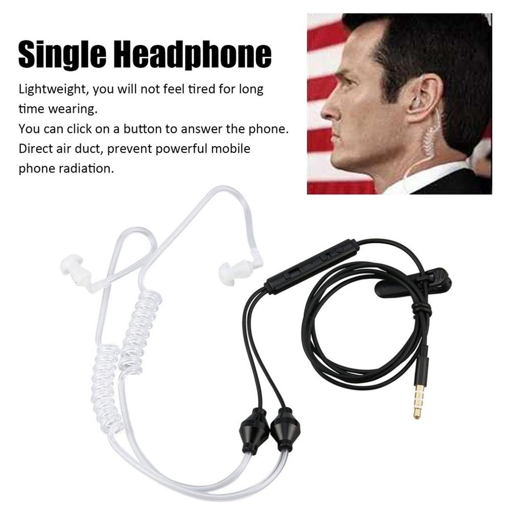 90cm Single Earphone Stereo Secret Service Air Tube 3.5mm Anti Radiation Mobile Phone Headsets Earphone With Air Pipe KY-011