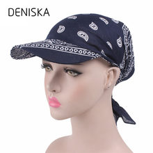 DENISKA 2018 Unisex Paisley Visor Pre Fitted Bandana Hat Outdoor Sun Bandans Cap Head Scarf Bandit Turban Cap(China)