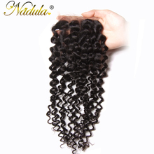 Nadula Hair Peruvian Curly Hair Middle Part Closure 10-20inch Non-Remy Human Hair Weave 4*4 Swiss Lace Closure Medium Brown