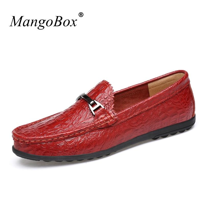 где купить Big Size 38-46 Male Casual Sneakers Slip On Shoes Mens Black Red Mans Boat Sneakers Split Leather Loafers Men по лучшей цене