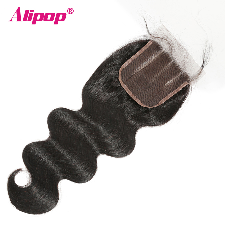 Closure Brazilian Hair Body Wave Lace Closure Human Hair 4x4 Top Swiss Lace Pre-Plucked With Baby hair Remy Natural Black ALIPOP (1)