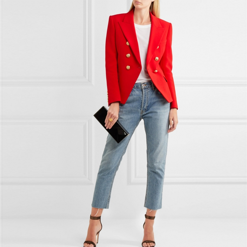 HIGH QUALITY New Fashion 2019 Designer Blazer Jacket Women's Metal Lion  Buttons Double Breasted Blazer Outer Coat Size S-XXL Red