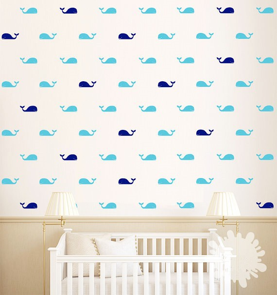 Free Ship 60pcs Whale 30 Left Head 30 Right Head Babay Nursery Wall Stickers For Kids Bathroom Decor M2s1