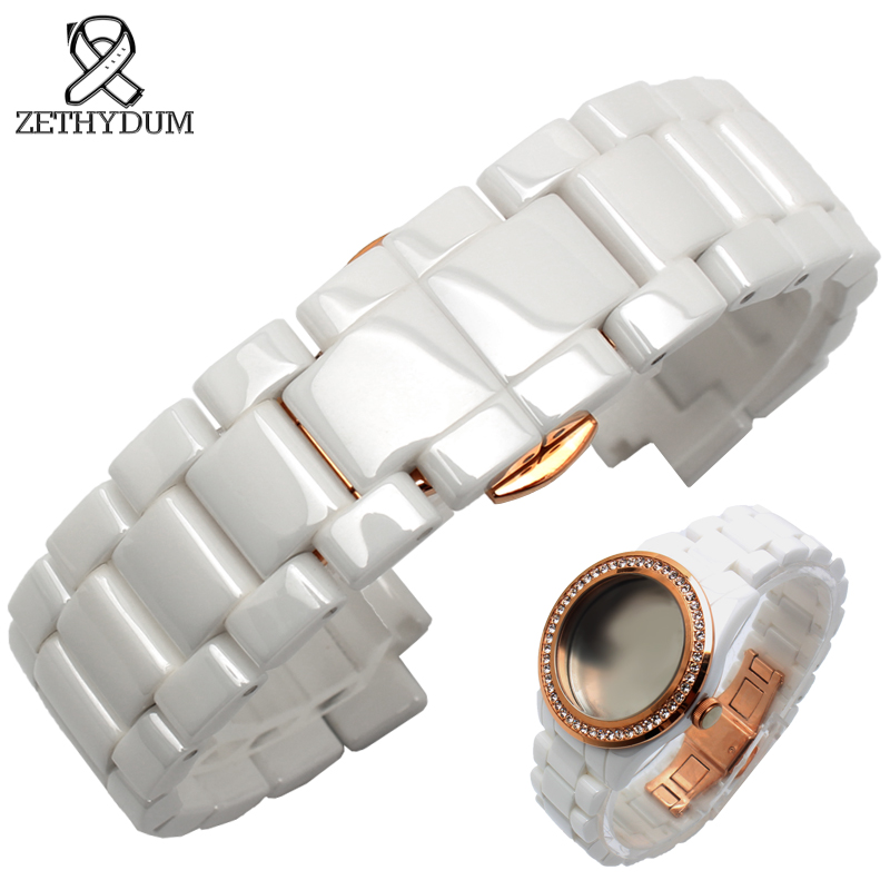 Ceramic watch strap bracelet 18*10mm white watchband and watchcase watch accessories rose gold Butterfly buckle for AR1472