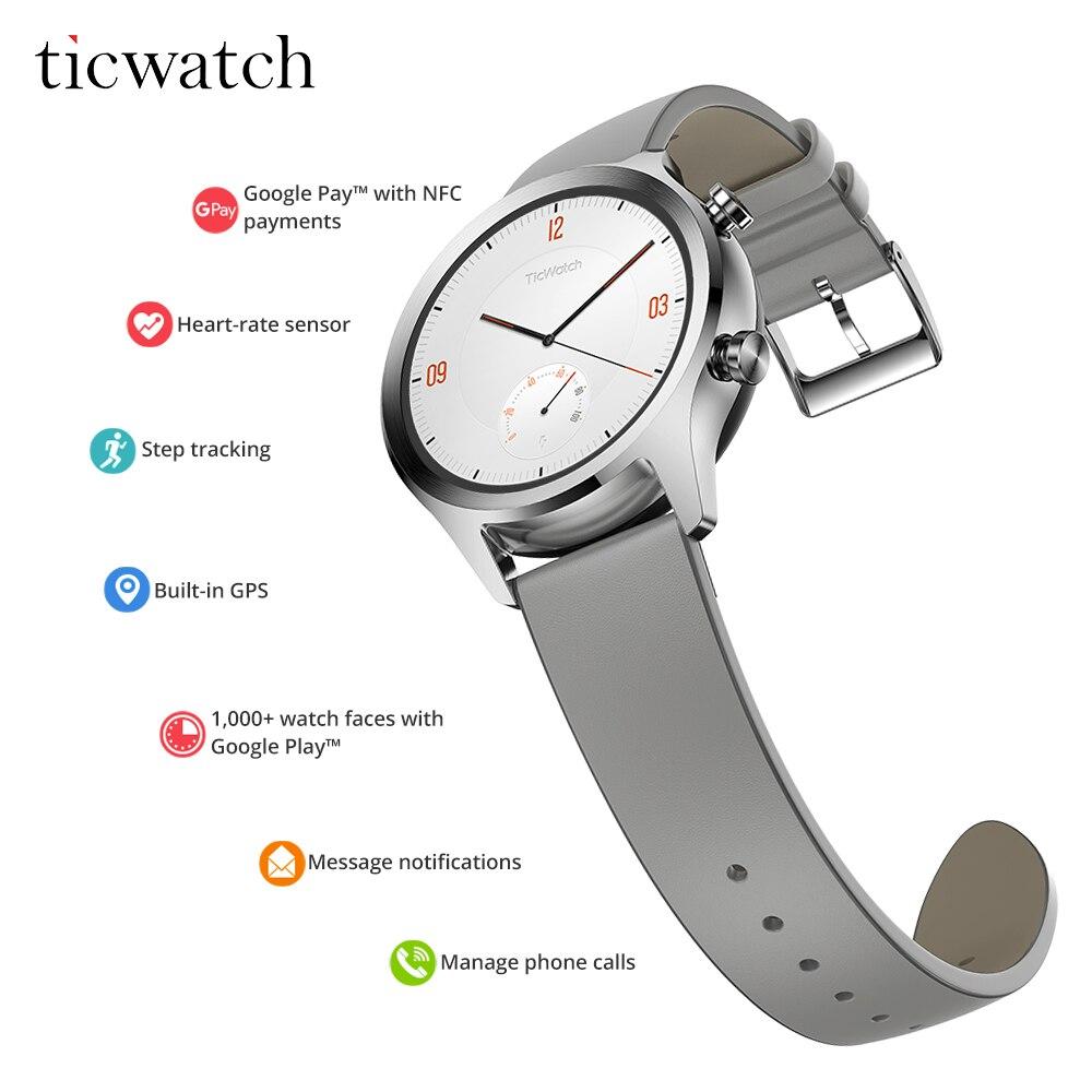 Astuto Della Vigilanza Originale Ticwatch C2 Usura OS da Google NFC Pagamenti Bluetooth V4.1 Built-In GPS 400 mAh Monitor di Frequenza Cardiaca passometer