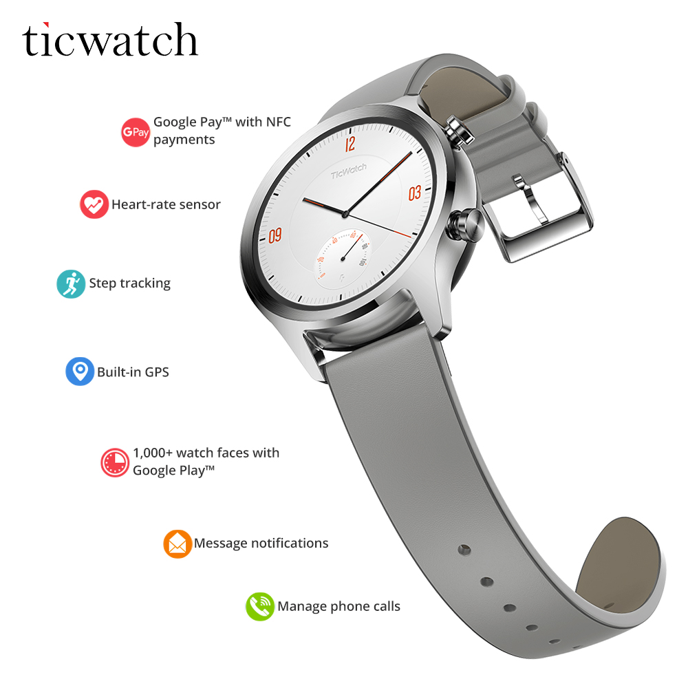 Montre connectée D'origine Ticwatch C2 Wear OS par Google Les Paiements NFC Bluetooth V4.1 Intégré GPS 400 mAh moniteur de fréquence cardiaque Passometer