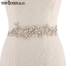 TOPQUEEN SJD-S283 Кристалл Стразы вечернее платье платья Аксессуары свадебные Ремни Пояса Свадебный эластичный пояс