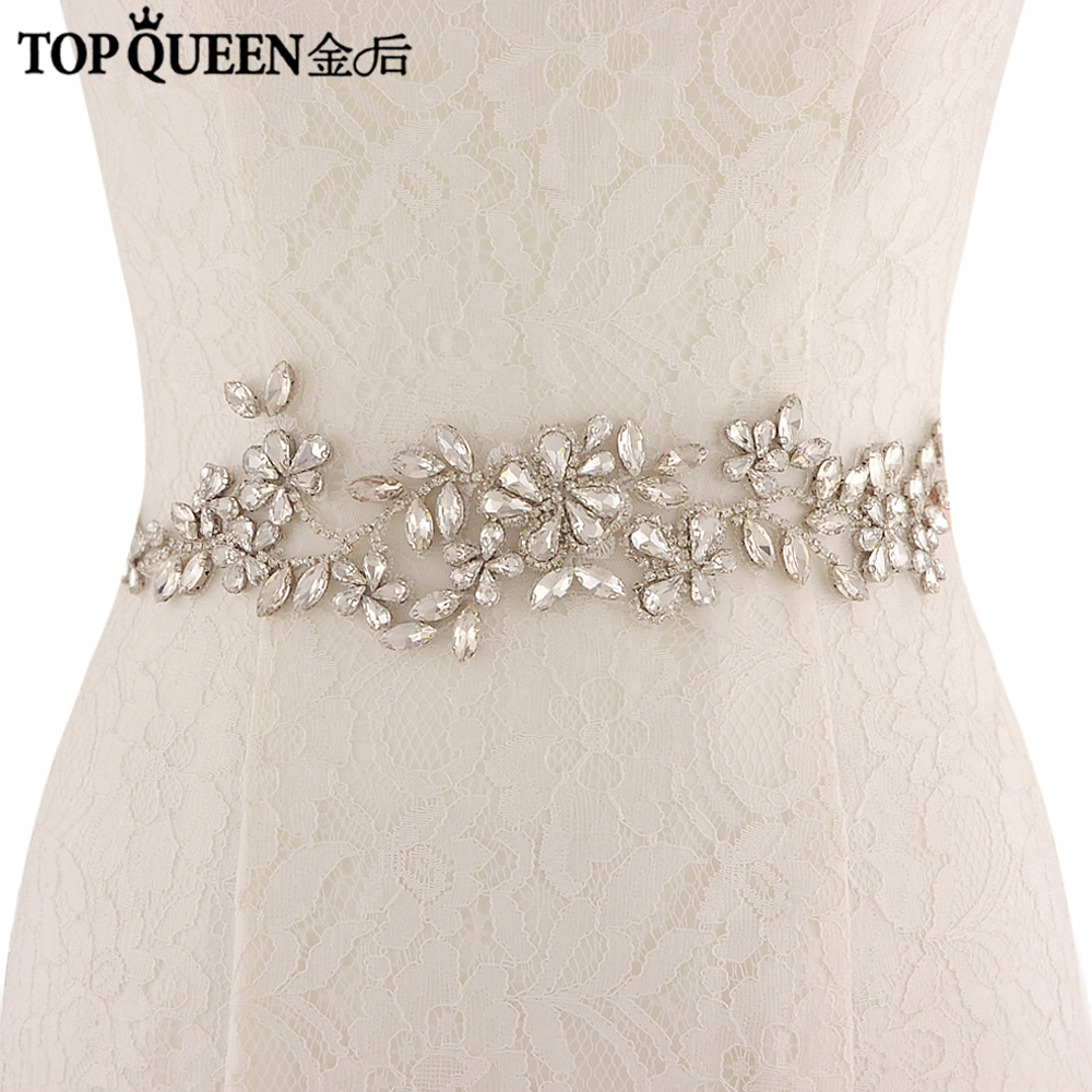 TOPQUEEN Luxury Crystal Rhinestones Evening Party Gown Dresses Accessories Wedding Belts Bridal Elastic Belt Satin From SJD-S283