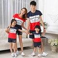 2016 Vermelho próximo olhar combinando roupas de verão da família mãe e filha mae e filha pai e filho roupas navy stripe casual camisa