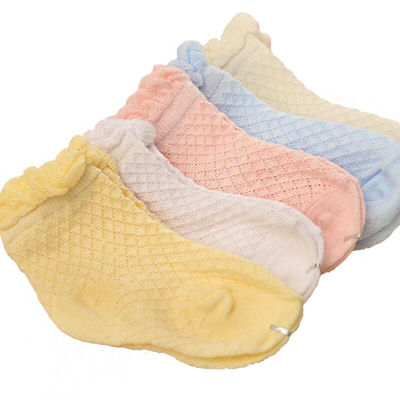 (5 Paare/los) Baby Socken Mit 0-6 Monate Baby 100% Baumwolle Weibliche (yyt128) Reinweiß Und LichtdurchläSsig