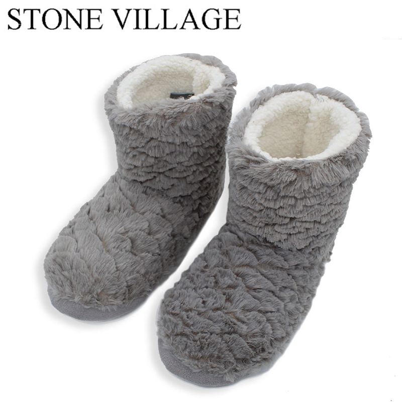 STONE VILLAGE New Arrival 2018 Winter Indoor Slippers for Women Adult House Shoes Soft Warm Slippers Warm Thickened Fluff 18-80