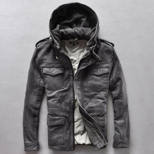 Aliexpress.com : Buy men's Fashion hood genuine leather jacket ...