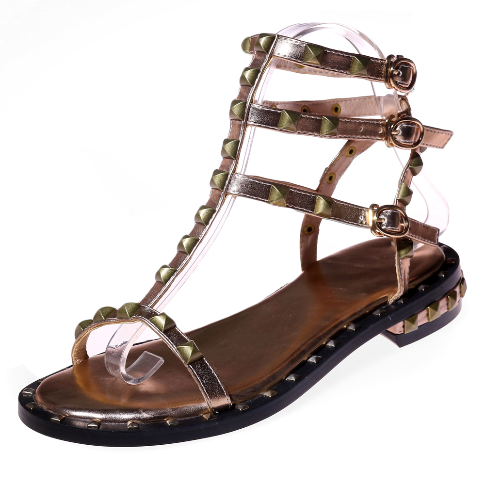 visit new cheap price Arden Furtado 2018 summer flat genuine leather open toe T-strap fashion rivets gladiator casual sandals shoes woman big size 43 free shipping supply low price fee shipping for sale how much sale online fake for sale ISW3mCeMXr