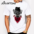 Plus Size 2016 Fashion Men T-shirt Short Sleeve Cool Dog with Hat Print Tops Slim Pokemon Skull Print t shirts Fitness for Male