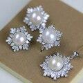 2016 Conjuntos de Joyería de Perlas Anillo de Copo de nieve de 925 Collar de Plata de ley Pendientes Colgantes de Perlas Naturales Para Las Mujeres Regalo