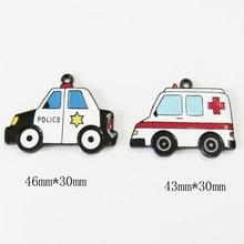 Newest  10pcs/bag All Enamel Ambulance/paddy wagon Pendants For Chunky Necklace