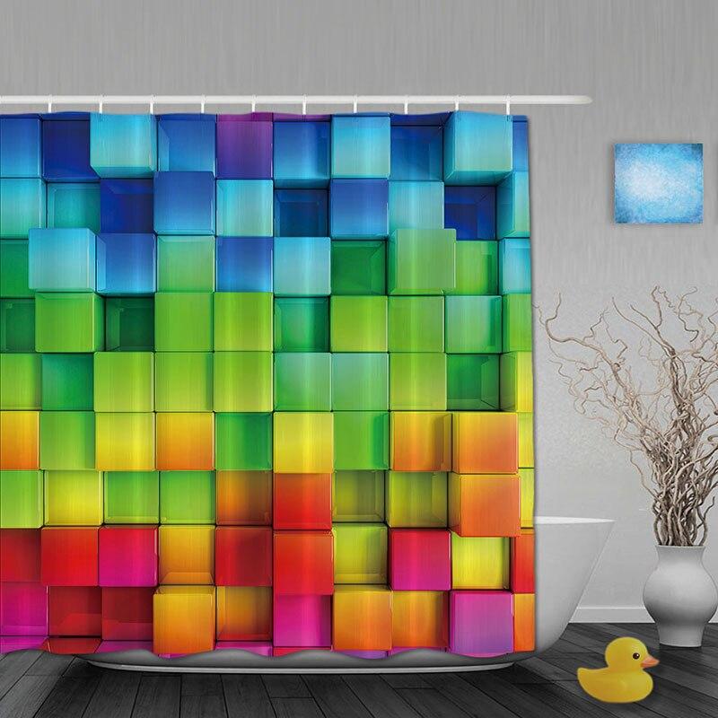 3D Printing Bathroom Shower Curtains Rainbow Square Shower Curtain Waterproof Polyester Fabric Custom Bathroom Curtain Hooks