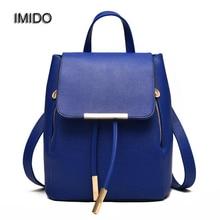 ИМИДО Марка искусственная кожа рюкзаки плеча женщины дорожные сумки женщины рюкзак для подростка девочек Черный mochila feminina мешок SLD028