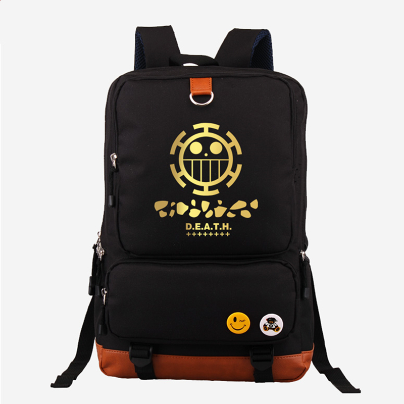 Hot Japanese Anime One Piece Death Surgeon Trafalgar D Water Law Fashion Gold Printing Backpack Canvas Women's Backpack Mochila japanese anime poke death note attack on titan one piece game ow short wallet with coin pocket zipper poucht billetera