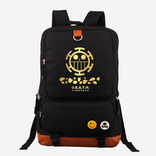 Hot Japanese Anime One Piece Death Surgeon Trafalgar D Water Law Fashion Gold Printing Backpack Canvas Women's Backpack Mochila