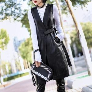 Image 5 - High street Black genuine leather vest real lambskin leather long trench coat veste femme chalecos mujer colete gilet LT1905