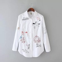 Nice Fashion Women Cotton Blouse Nice Spring White Shirt Long Sleeve Shirt Embroidery Blouse Wild Slim Shirt Office OL Tops CC58