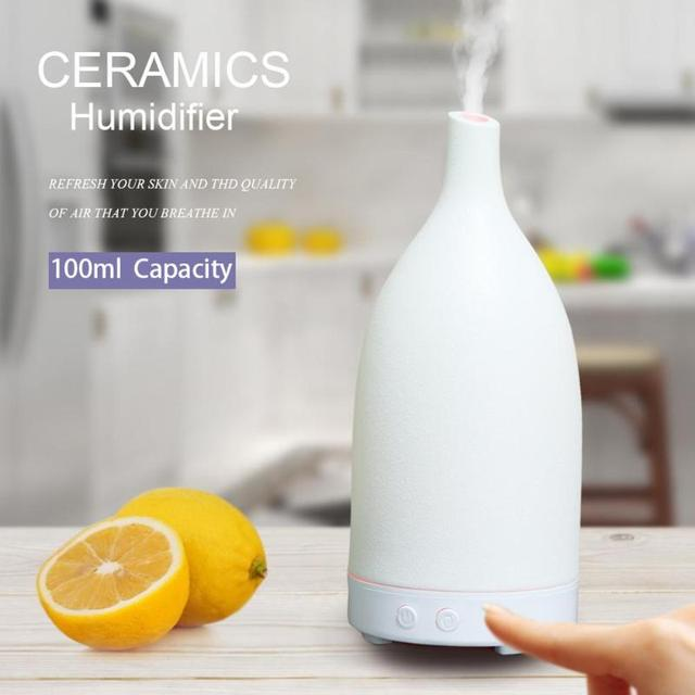 100ml Ceramic Ultrasonic LED 7 Color Lamp Air Humidifier Essential Oil Aromatherapy Mist Aroma Diffuser for Home Office Bedroom