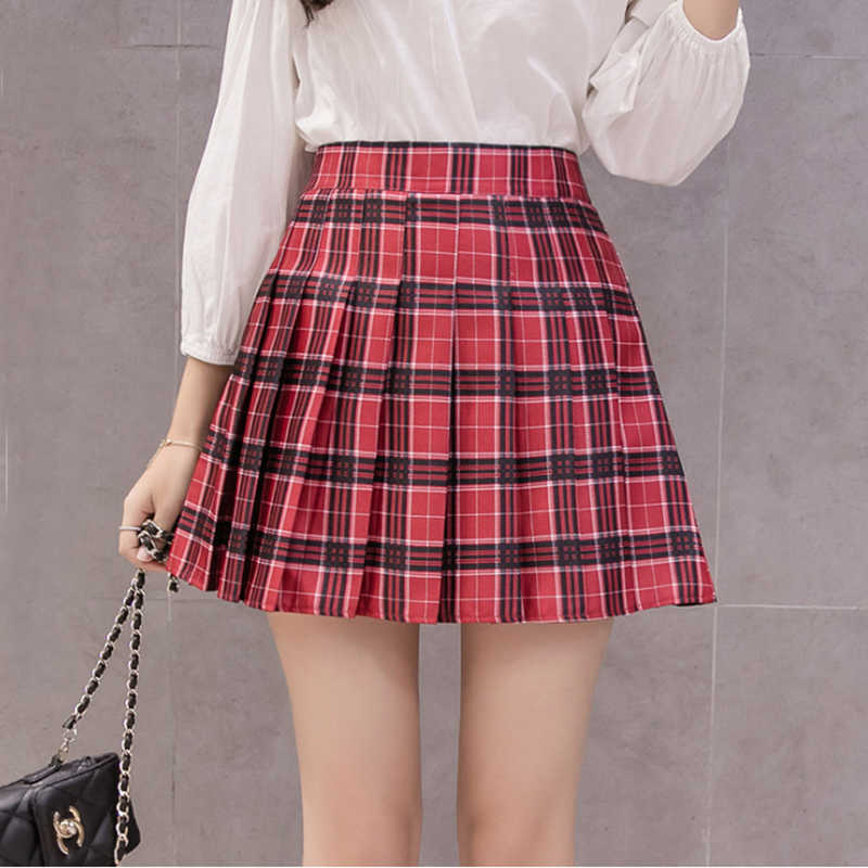 41cda5b3d2 Harajuku Kawaii High Waist Pink Plaid A Word Skirt Women Kpop Ulzzang Mini  Skirts Pleated Schoolgirl