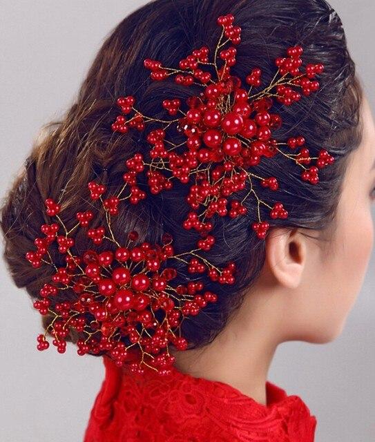 Bridal Headpiece Headband Wedding Bride Hair Accessories Crystal Combs for Women Hair Ornaments Braid Jewelry Pearl Head Piece