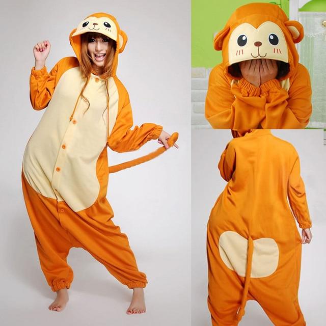 HKSNG Christmas Party Winter Warm Adult Animal Monkey Pajamas Flannel  Kigurumi Onesie Cosplay Homewear For Girls c874e36dde49d