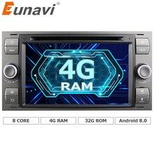 Eunavi 2 Din Android 8.0 Octa 8 Core Car DVD Player GPS Navigation WIFI 4G for FORD S-Max Kuga Fusion Transit Fiesta Focus II