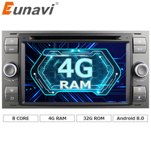 Eunavi 2 Din Android 8.0 Octa 8 Core Car DVD Player GPS Navigation WIFI 4G for FORD S-Max Kuga Fusion Transit Fiesta Focus II