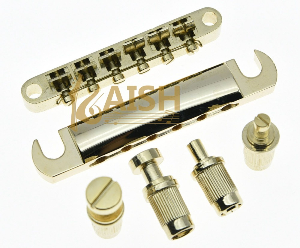 Gold Electric Guitar Tune-o-matic Bridge and Tailpiece for LP kaish lp tune o matic roller saddle bridge tailpiece stopbar set for lp gold