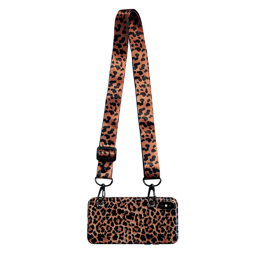 case for iphone 7 8 plus X XS MAX XR case cover luxury leopard with shoulder strap silicon phone bag case for iphone 6 6s plus in Fitted Cases from Cellphones Telecommunications