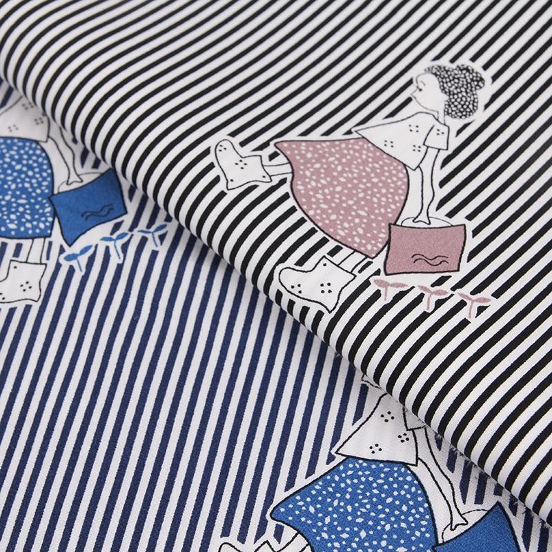 Bz84 100*140 см полосы Обувь для девочек печатные хлопчатобумажной саржи Ткань для детей Женская одежда скатерть Постельные принадлежности DIY Ма...