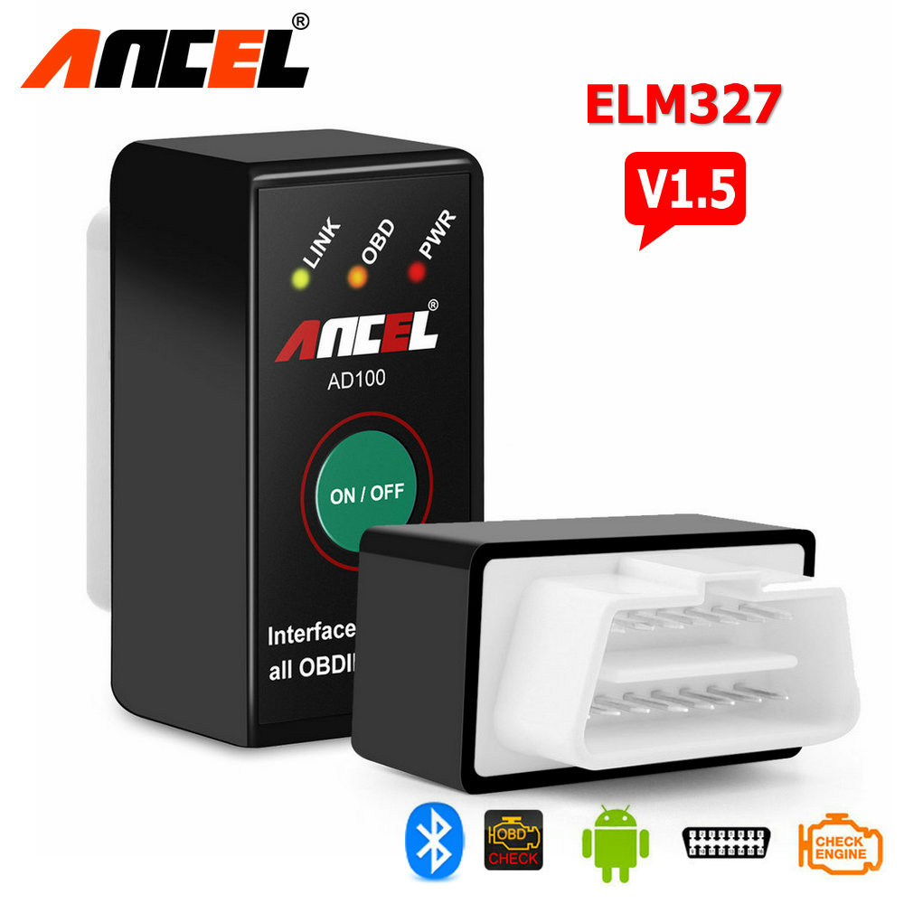 V1.5 MINI ELM327 Bluetooth Power Switch ELM 327 V 1.5 OBD2 OBDII for Android Torque Car Code Scanner Ancel AD100 PIC18F25K80