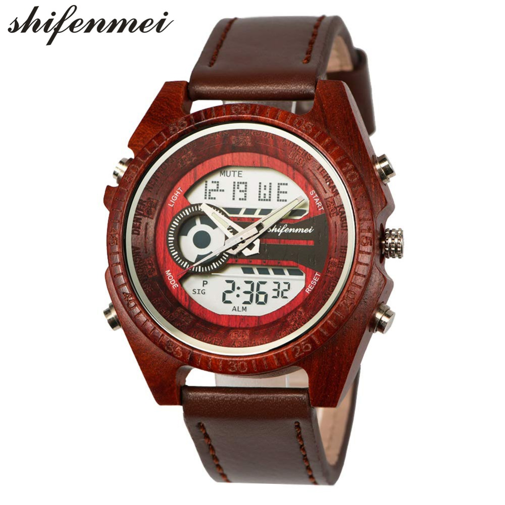 top luxury brand Shifenmei 2139 Antique Mens Zebra and Ebony Wood Watches with Double Display Business Watch in Wooden digital quartz watch drop shipping 2019 (29)
