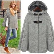 Британский бренд, пончо, осень-весна, Сплетница, серый, черный, с капюшоном, пальто, женский плащ, Casacos Femininos manteau femme