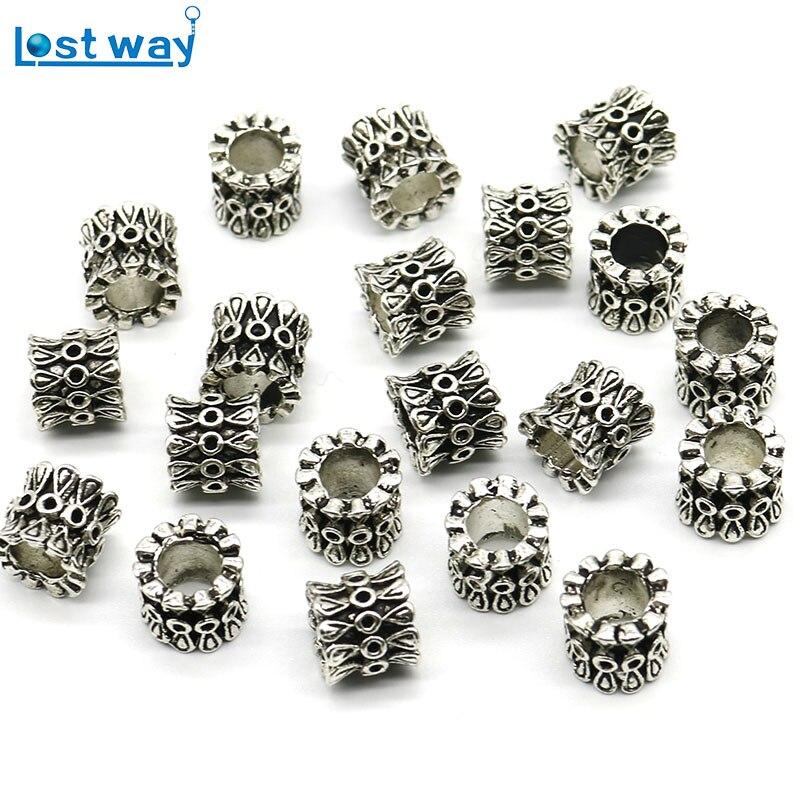 20 pc/lot gros trou tibétain argent perles métal tibétain argent entretoise perles argent plaqué pour la fabrication de bijoux bracelets porte-bonheur bricolage