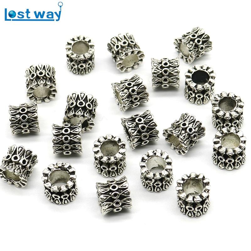 LOT 100pcs Tibetan Silver big hole Spacer Beads Round Wheel Metal Spacer Beads