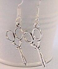 50 Pair Hot Fashion Wholesale Jewelry Vintage Silver Hairdresser Scissor Charm Costume Jewellery Dangle Earring DIY C018