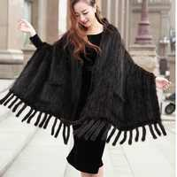 175cm 55cm women genuine mink fur shawl knitted big size with tassels female real fur capes and wraps pashnima winter coats