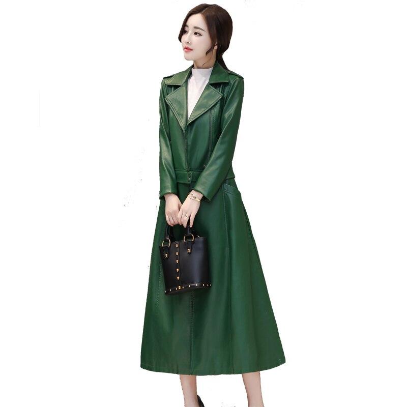 Longs Slim Design Bord Manteaux Nouveau rouge Femmes Noir Hiver Solide Coupe Mode vent Veste Lowe Automne 2019 Et En Amovible vert Cuir T7UnnxA