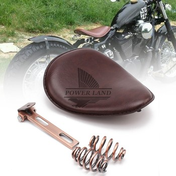 """Brown Front Driver Leather Seat Cushion 3"""" Spring Bracket Solo Seat for Harley Bobber Chopper Custom Cafe Racer Sportster 883"""