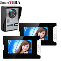 SmartYIBA Wired 7Inch Monitor Video Doorbell Door Phone Video Intercom Security Night Vision 1 Camera 2 Monitor System