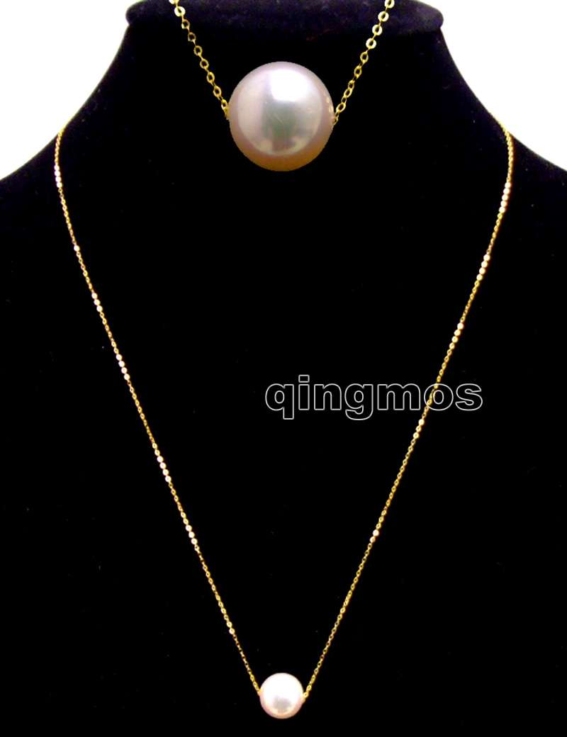 gold Chain Floating AAA 10-11mm White Round Natural Freshwater pearl 16